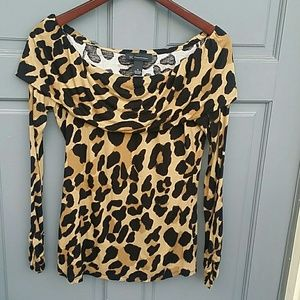 INC leopard print off the shoulder top